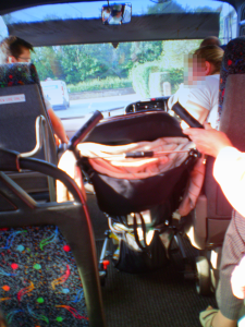 Buggy parked unsafely on the bus, 2 September 2013
