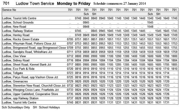 701 timetable Monday to Friday