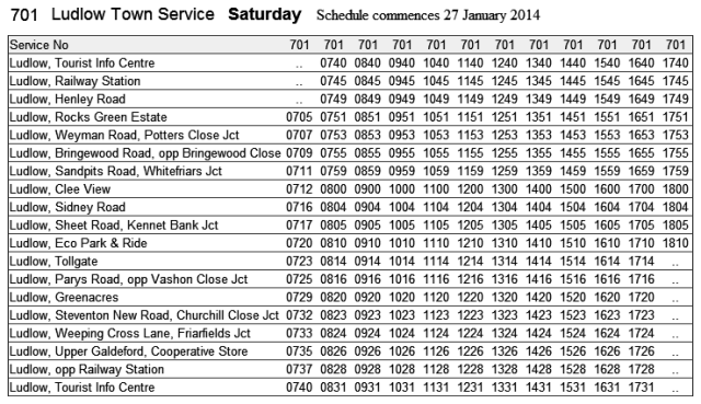 701 timetable Saturday