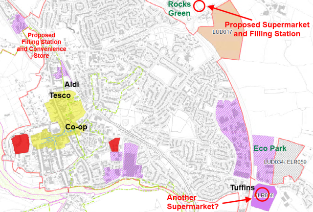 Ludlow supermarkets - existing and proposed