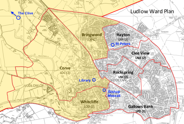 Map of Ludlow Wards and Ludlow North 1000