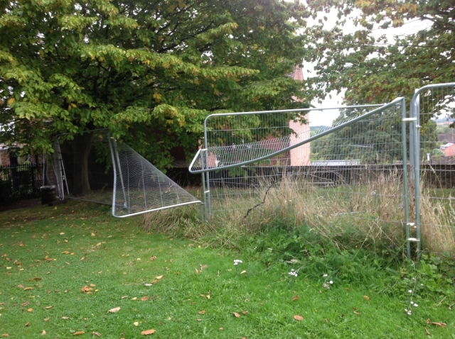 Wrecked security fencing 1