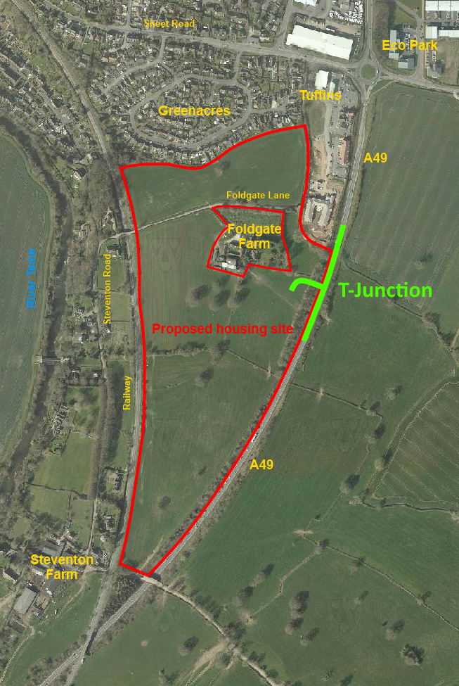 Foldgate site location with t-junction